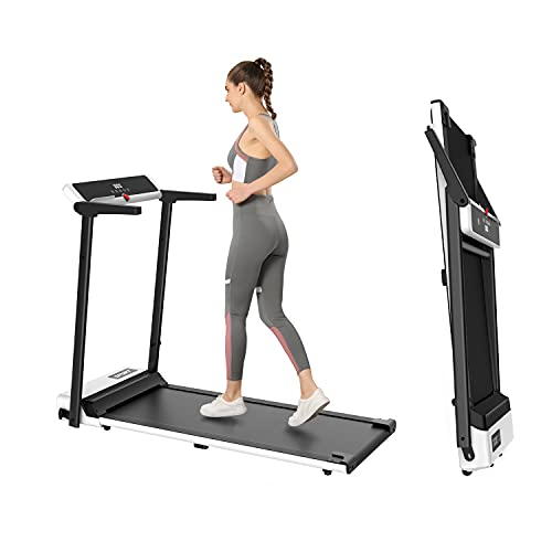 FondRun Folding Treadmill for Home, 2.5HP 1800W Electric Treadmill for Walking Jogging, Portable Compact Treadmill with LED Monitor, Installation-Free for Office Workout(White)