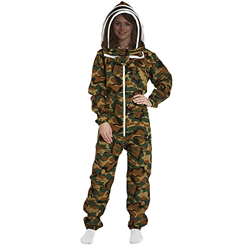 Natural Apiary - Apiarist Beekeeping Suit - Camouflage - (All-in-One) - Fencing Veil - Total Protection for Professional & Beginner Beekeepers - 2X Small