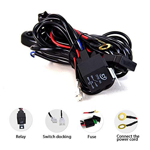 SKYWORLD Kit de arnés de cableado 1 cable de 10 pies para barra de luz de trabajo de Led 14V Cableado Interruptor de encendido/apagado Kit de arnés de relé para Off Road ATV UTV