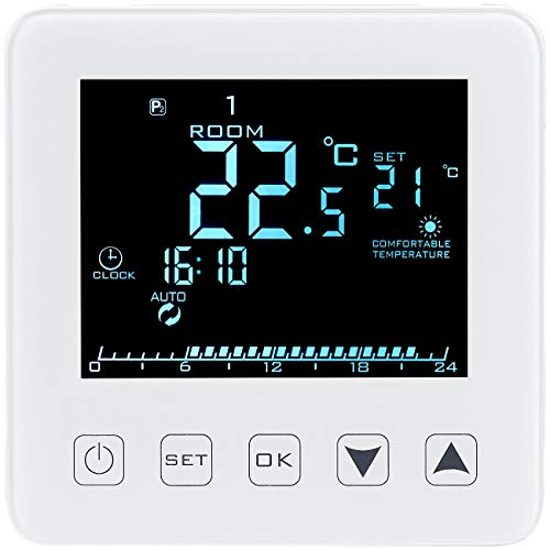 revolt Raumthermostat Touch: Wand-Thermostat für Fußbodenheizung, LCD, Touch-Tasten, programmierbar (Heizungssteuerung)