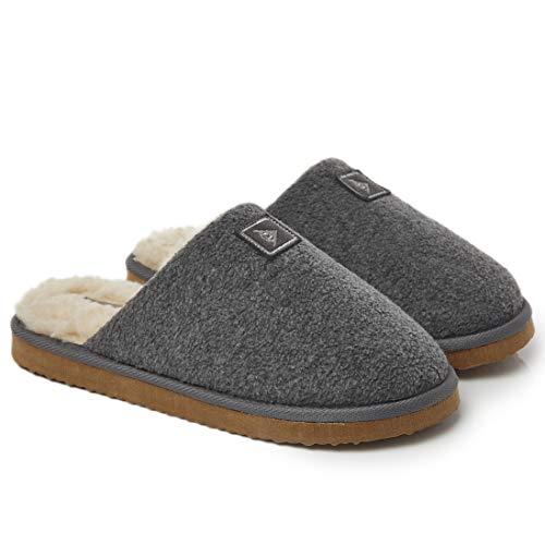 Dunlop Zapatillas Casa Hombre, Memory Foam Pantuflas Peluche Abiertas, Zapatillas De Estar En Casa Invierno Calientes Suela de Goma Dura Interior Exterior, Regalos para Hombre (44 EU, Gris)