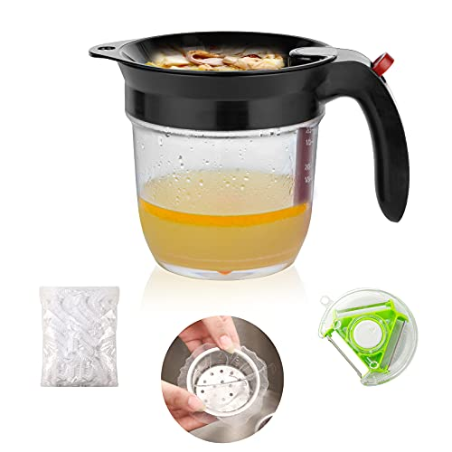 Farberly 4 Cups Fat Separator Soup Oil Separator Oil Separator with scale Strainer   Easy Press Button With Bottom Release Soup And Gravy Separatorincluding 25 pieces of plastic wrap 3 free gifts