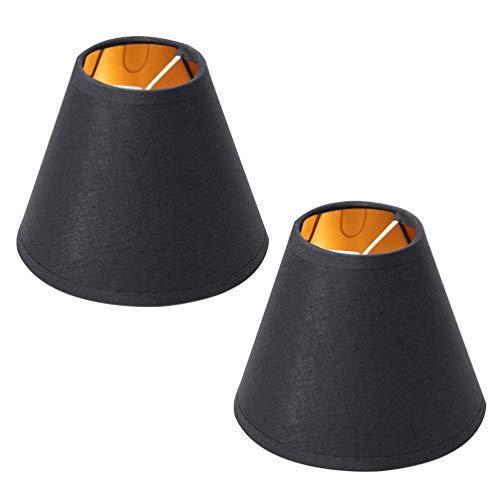 Lurrose 2 unids lámpara de araña sombras negro mini lámpara de cristal sombras techo cubierta campana clip en luz accesorio 5.5 pulgadas