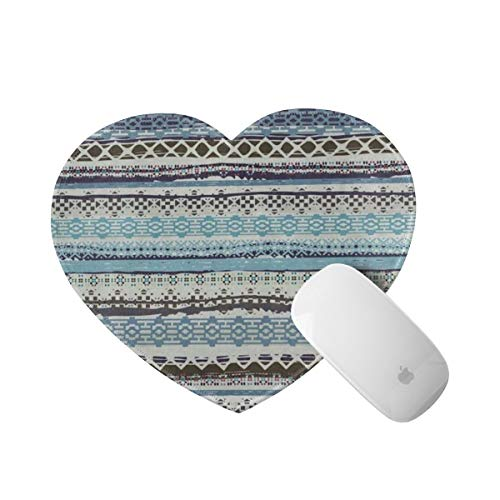 Mousepad Love Heart Shaped Boho Ethnic Tribal Aztec Stripes Vintage Comfortable Rubber Base Mouse Pads for Laptop Computers Womens Girls, Anti-Slip,8'X9.5'