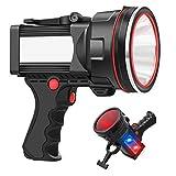 ANLOOK Spotlight Flashlight Handheld Rechargeable 55W 8000 lumen LED Spotlight Outdoor High Bright IPX4 Waterproof for Hunting Searchlight 12800mAh Long Lasting Large Torchlight USB Spot Light
