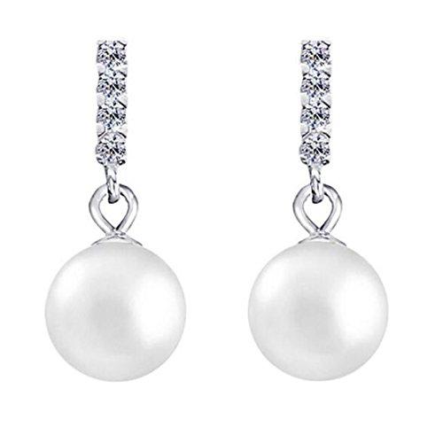 B.Z La Vie Pendientes Mujer Plata 925colgante mujer Cristal y perlas Pequeño y Fein Gefo RMT