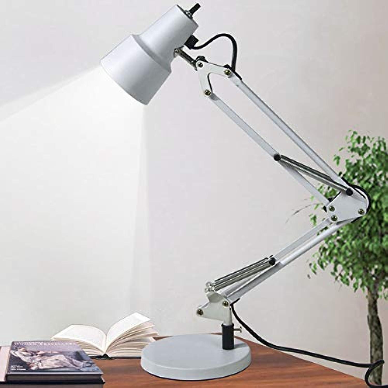 WETRR Kreative Tischlampe Nachtlicht, LED-Lesenleuchte, Augenpflege, 360 Grad Adjustable Schreibtisch Light Robotik-Arm faltbar,Weiß