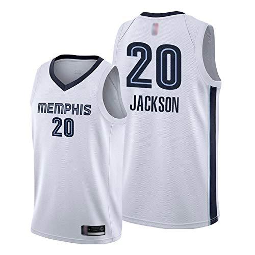 Camiseta De Baloncesto para Hombre NBA Memphis Grizzlies # 20 Josh Jackson Chaleco Deportivo Transpirable De Secado Rápido Camiseta De Uniforme De Baloncesto,Blanco,XL(180~185cm)