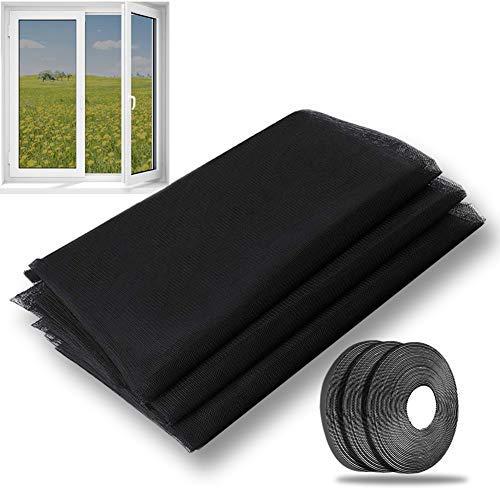 Malla Mosquitera Standard para Ventanas, 3 Unidades, 1,3 m x 1,55 m de Insectos de la Protección de la ventana se puede cortar, con 3 rollos de Cintas Autoadhesivas(10mm), Negro