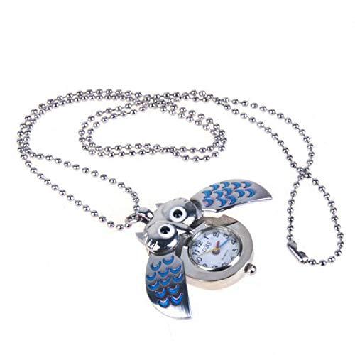 F Fityle Collar Reloj Búho Plata Y Azul