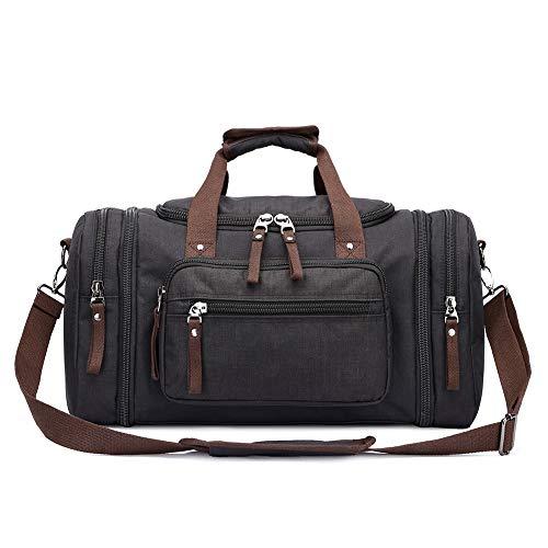 Toupons Travel Duffel Bag for Men & Women 47L Overnight Weekend Bag (Black-New)
