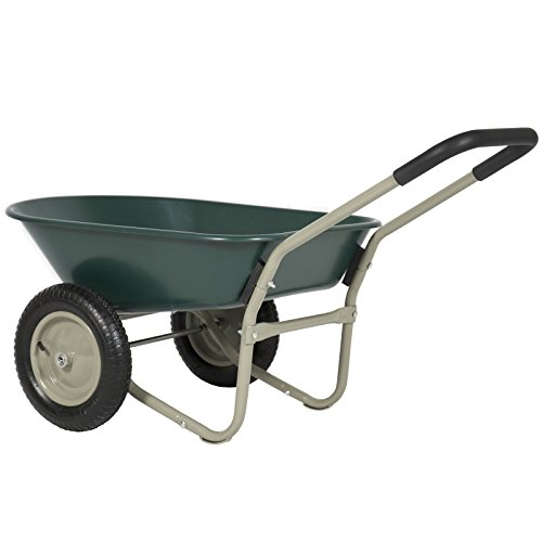 Rolling Mobile Heavy Duty 2 Tire Wheelbarrow Garden Cart Easy Loading and Dumping Utility Wagon Perfect for Transporting Soil Bricks and Construction Materials in Your Yard Lawn Garden and Warehouse