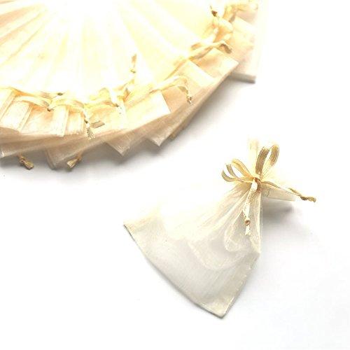 C.X.Y. 100 Sacchetti Organza 7 * 9cm Confetti Bomboniera Regalo (Avorio)
