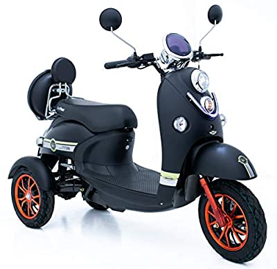 Green Power 3 Wheeled Retro Style Electric Mobility Scooter (Black)