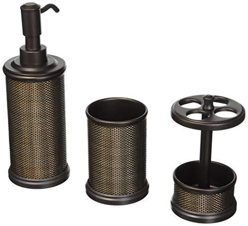 mDesign 3er-Set Badaccessoires aus Metall – inkl. Seifenspender, Zahnputzbecher und Zahnbürstenhalter – Badgarnitur für den Waschtisch – bronze