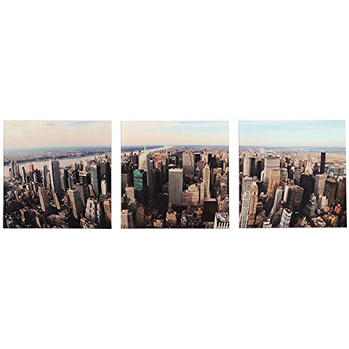 Conjunto 3 Quadros de Vidro Luxo Paisagem Manhattan Jolitex