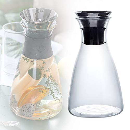 ZZJCY Jarra De Vidrio para Nevera, Jarra De Agua Sin BPA, Sin Goteo, Forma Clásica De Botella De Leche, para Bebidas Caseras/Té Helado/Leche/Café/Servir Vino,A,1L