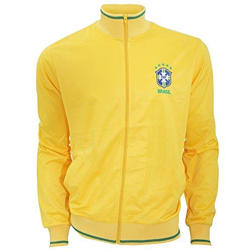 Herren Athletic Fußball Jacke / Trainingsjacke mit Brasilien CBF Logo (Large) (Gelb)