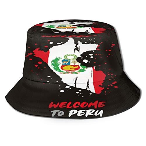 TTLUCKY Sombrero de Pesca,Bandera y Mapa del país de Perú,Senderismo para Hombres y Mujeres al Aire Libre Sombrero de Cubo Sombrero para el Sol