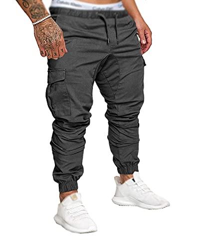 SOMTHRON Hombre Cinturón de Cintura elástico Pantalones de chándal de algodón Largo Jogging Pantalones de Carga Deportiva de Talla Grande Pantalones Cortos con Bolsillos Pantalones (DG-XL)