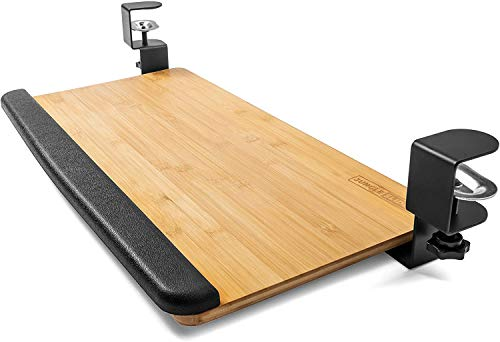 Clamp On Keyboard Tray, Ergonomic Keyboard and Mouse Under Desk Drawer, Slide Keyboard Tray Under Desk, Desk and Table Extender, Great for Sit Stand Workstation (Bamboo Natural)