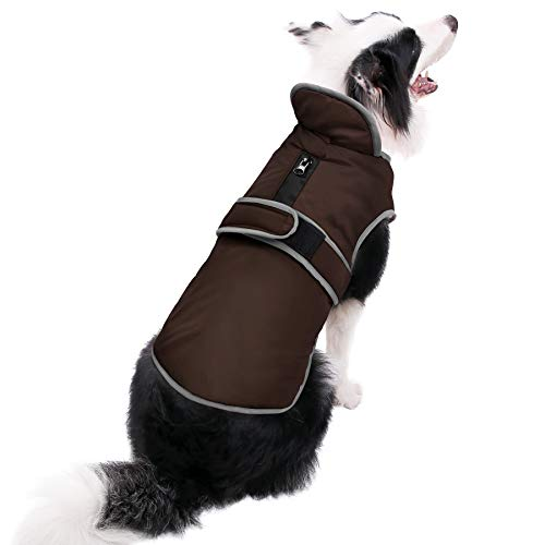 MIGOHI Reflective Waterproof Windproof Dog Coat Cold Weather Warm Dog Jacket Reversible Stormguard Winter Dog Vest for Small Medium Large Dogs(Brown, L)