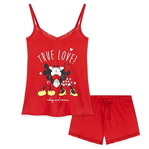 Disney Pijama Mujer Verano, Pijama Corto Algodón con Mickey, Minnie Mouse o Daisy Duck, Conjuntos...