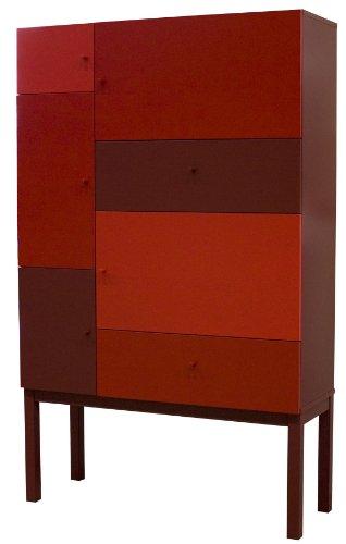 Preisvergleich Produktbild Tenzo 1970-828 Color - Designer Schrank,  rot mix,  lackiert,  matt,  162 x 100 x 36 cm (HxBxT)