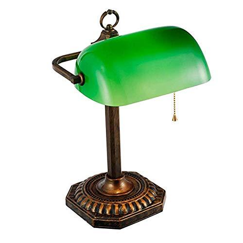 XUMINGTD tafellamp Amerikaanse retro bank lamp Republiek China vintage studie lamp persoonlijkheid slaapkamer lamp oude Shanghai glas groene lamp