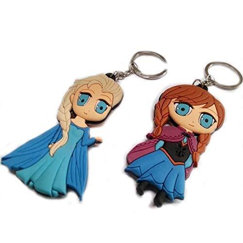 Selles® Nina - Prinzessinnen Eiskönigin 2 - Frozen - 3 D Schlüsselanhänger beidseitig ❤️ PVC Soft - Doppelpack - 1x Elsa/1x Anna - NEU NS2203