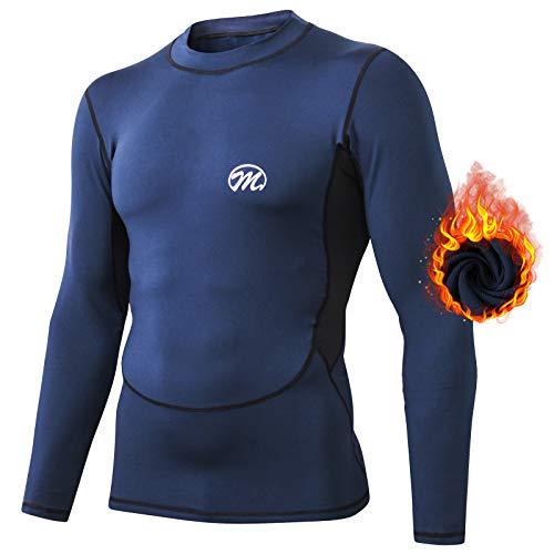 MeetHoo Conjuntos Térmicos para Hombre, Set de Ropa Térmica Camiseta Pantalones Interior Función Deporte Running Ciclismo Esquí Fitness Invierno (Azul-Top, L)