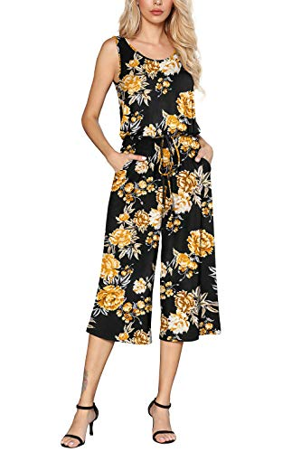 Euovmy Women Summer Casual Sleeveless Tank Top Elastic Waist Loose Floral Printed Jumpsuit Rompers with Pockets Flower Yellow Black Medium