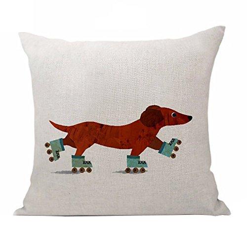 Sukisuki Funda de cojín de lino, con estampado de perro salchicha, tamaño estándar, para decoración de sofá, cafetería, coche., Lino, 2#, 45cm x 45cm