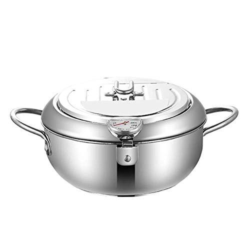AABBC Freidora Herramientas de Cocina Pollo Frito de Acero Inoxidable Multifuncional con Tapa Control de Temperatura Tempura Cocina Olla eléctrica Cilindro de Aceite para el hogar