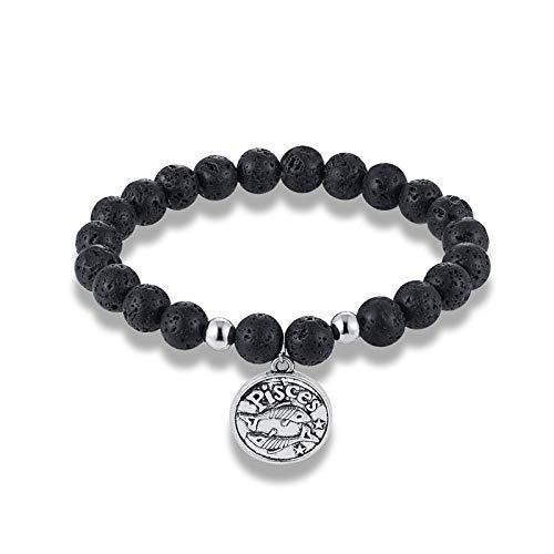 GROPC Sternbild Armband,12 Sternbild Galaxie Fische Natur Lava Stein Perlen Armband Mode Horoskop Charme Armreifen Männer Frauen Weihnachten Paar Yoga Freundschaftsgeschenk