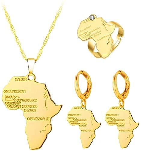 NC128 Mapa de África Colgante, Collar, Pendientes, Anillo, Cadena de Color Dorado, Venta al por Mayor, Mapa Africano, Hombres, Mujeres, Conjunto de Joyas