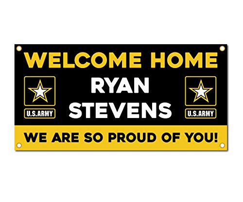 Milweb1 - Welcome Home U.S. Army / United States Military Customizable - Vinyl Banner, Sign, Print, Poster (2'x4')