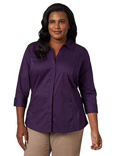Riders by Lee Indigo Women's Plus Size Easy Care ¾ Sleeve Woven Shirt, Purple Pennant, 3X