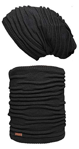 Hilltop Winter Set für Mann und Frau: warmer Schal mit Teddy Fleece und passende Mütze in verschiedenen Farben, Winter Set:Schwarz