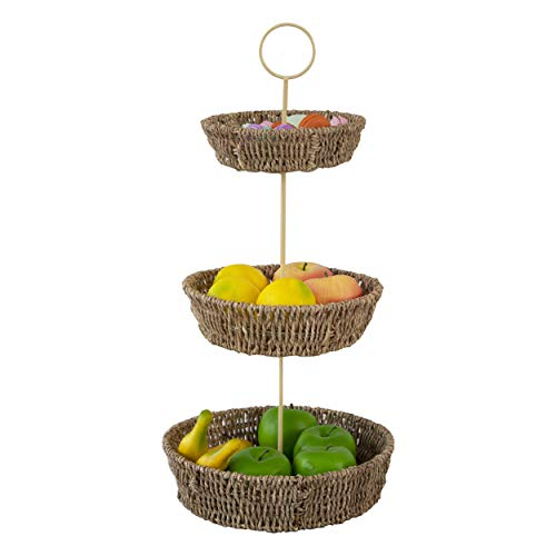3 Tier Fruit Basket Wire Fruit Bowl and Produce Hanging Holder | Free Standing Rustic Farmhouse Decorative Fruit Basket Stand for Storing & Organizing Food, Vegetables, Fruit, Eggs for Kitchen Counter
