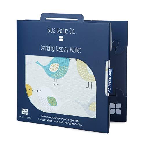 Blue Badge Company Tuin Vogels Parkeervergunning Cover voor Gehandicapten Badge, Hologram Safe Design, Timer Klok inbegrepen, Past Nieuwe Badge & Radar Sleutel