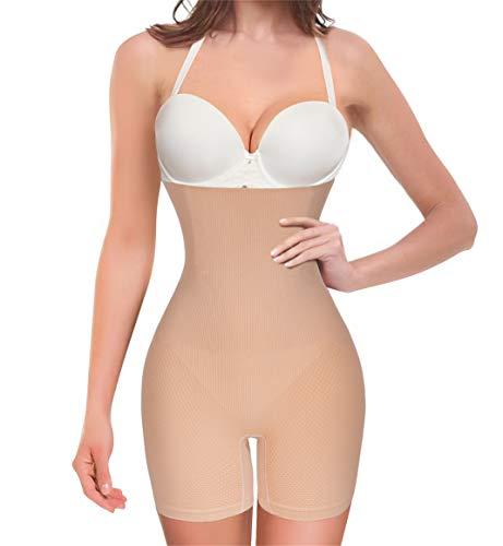 Chumian Intimo Modellante da Donna Mutande Contenitive a Vita Alta Shapewear Guaina Contenitiva Pantaloncini Seamless Body Shaper Dimagrante (Beige, M/L)