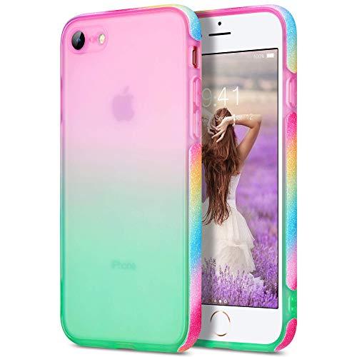 ARRISLIFE iPhone SE Estuche, iPhone 8 Estuche, iPhone 7 Estuche, Stylish Cabina telefónica Girls Bling Designed Sparkle Soft TPU Back Custodia for iPhone 7/8/SE 4.7 Inch(Pink + Green)