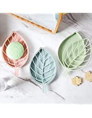 CONNECTWIDE Beautiful Leaf Shape Double Layer Soap Dish Case Holder- Bathroom Accessory, Shape Soap Dispenser Dish Case Holder Container Box Bathroom Case, Soap Box Leaf Shape Soap Dish Storage Tray Holder Case Container Soap Holder Soap Tray Soap Saver for Shower Waterfall/Bathroom/Kitchen/Counter Top- Size: 10*17 CM. (Set of 2)