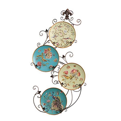 CKH Placa Decorativa de cerámica Americana Colgante de Pared Decoración Hogar Craft Placa Rack Disco Marco de Hierro