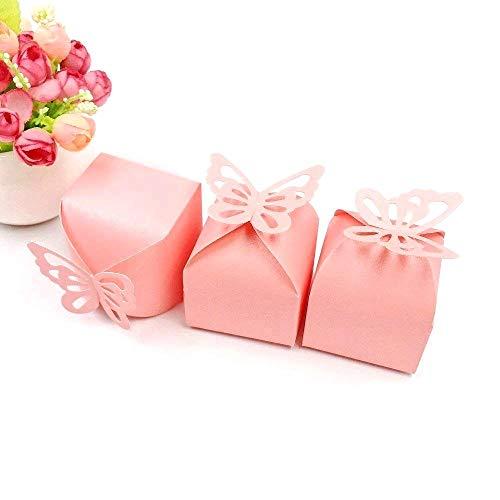 JZK® 50 x Gastgeschenk Box Süßigkeiten Geschenkbox Schmuck Schachtel für Hochzeit Geburtstag Party Gartenparty Taufe Babyparty Baby Shower Festival Weihnachten(rosa Schmetterling, quadratisch)