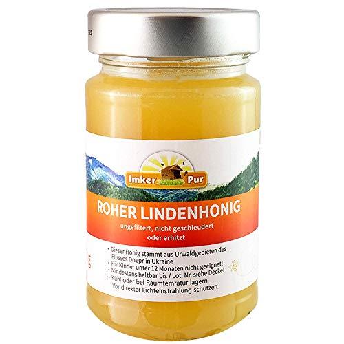 Ruwe lindehoning uit ImkerPur, ongefilterd, niet gecentrifugeerd of verhit, bevat bloemenstuifmeel, bijenwas, propolis, bijenbrood en koninginnengelei (300 g rauwe lindehoning)