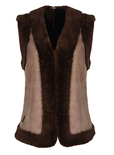 Hollert Damen Lammfellweste Heidi Camel aus 100% Merino Schaffell Outdoor Weste Echtleder Veloursleder Winter warm ärmellose Jacke Größe S