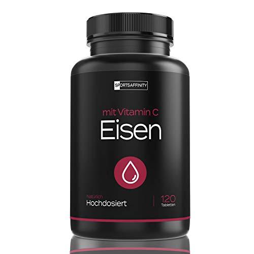 Eisen Tabletten mit natürlichem Vitamin C aus der Acerola Kirsche - Kapseln Hochdosiert mit 50mg Eisenbisglycinat - Hergestellt in Deutschland - Vegan