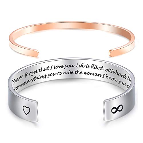 Melix HOME Awegift Daughter Bracelets from Mom Mother Wide Cuff Bangle Message Engraved Christmas for Her (to My Daughter Never Forget That I Love You)